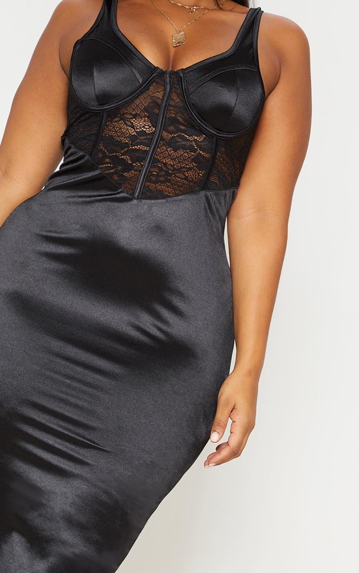 Black Satin Bustier Lace Insert Midi Dress 6