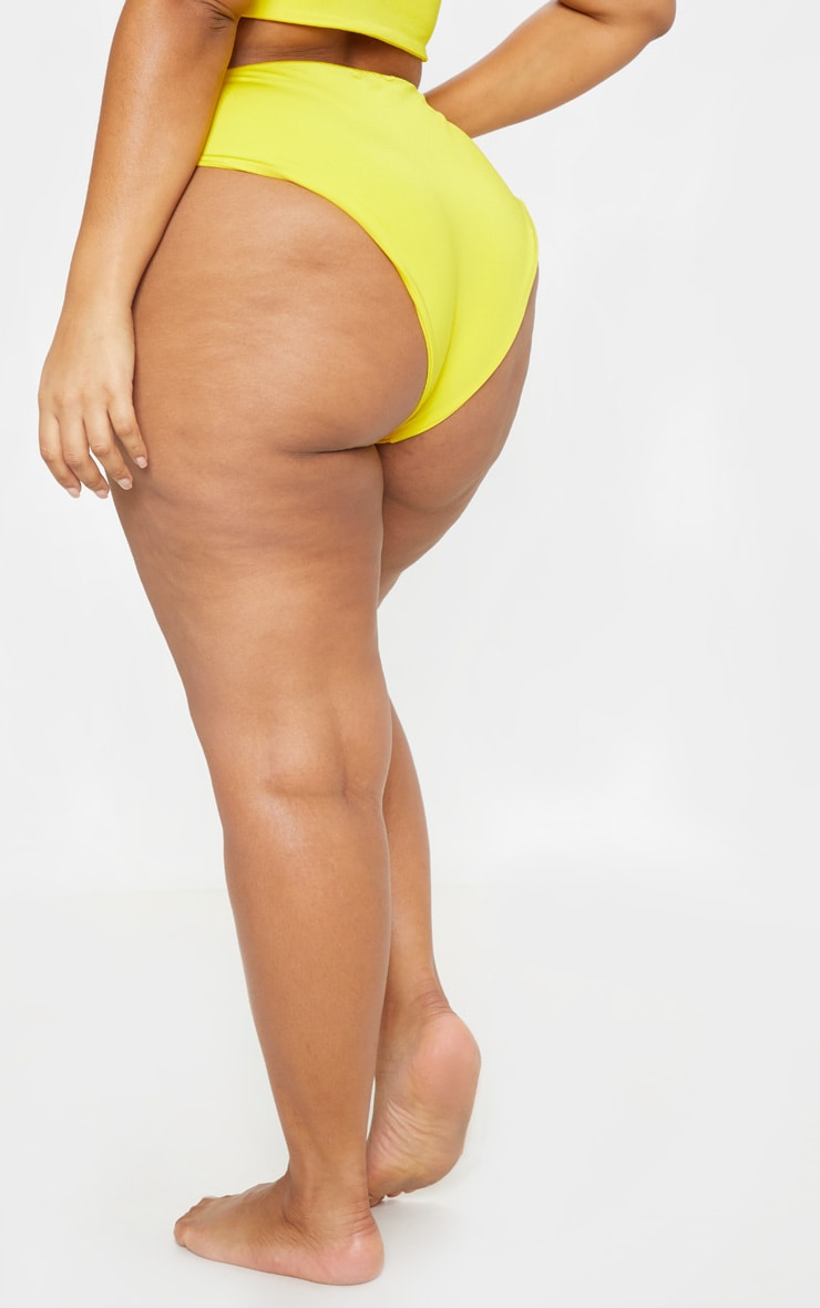Plus Bright Yellow High Waist Bikini Bottom 4