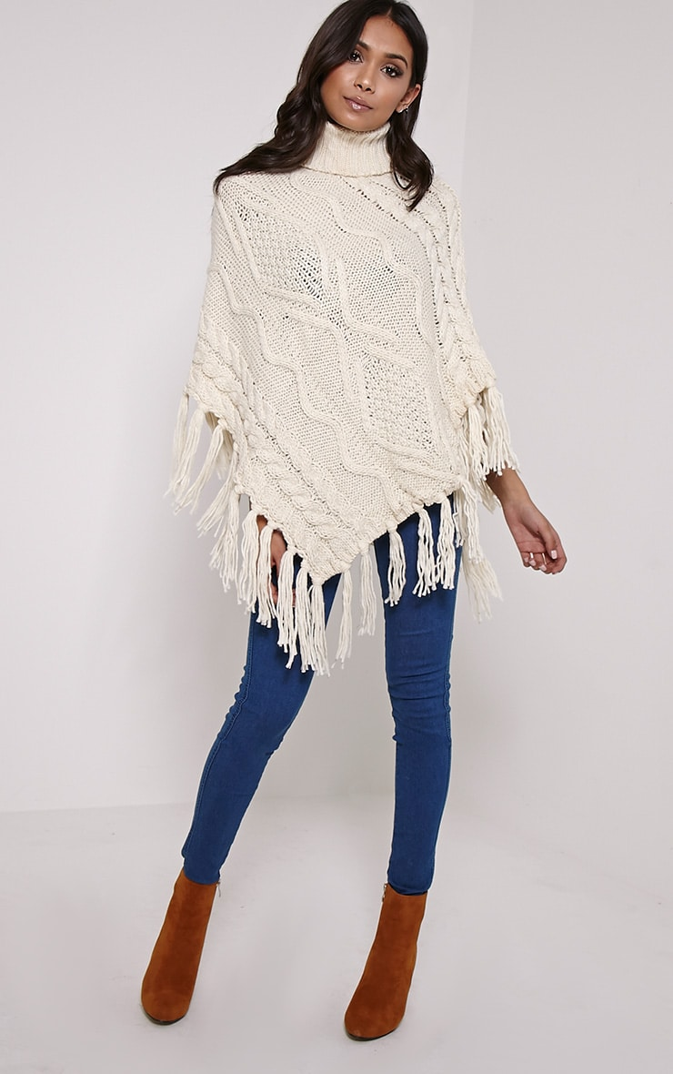 Arianne Cream Chunky Cable Knit Fringed Poncho 3