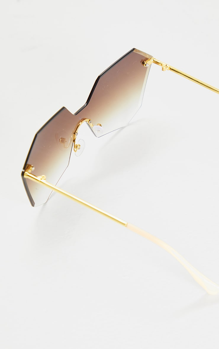 Brown Fade Rimless Faceted Hexagon Oversized Sunglasses 3