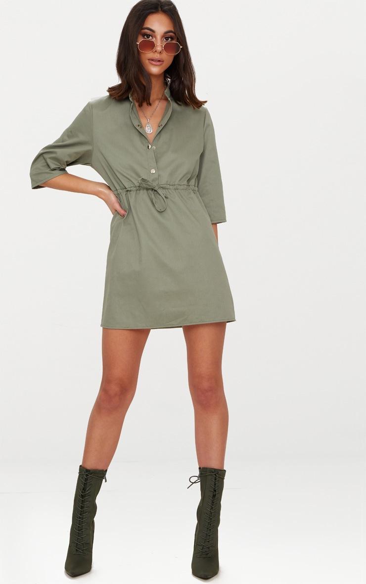 Khaki Utility Shirt Dress  4