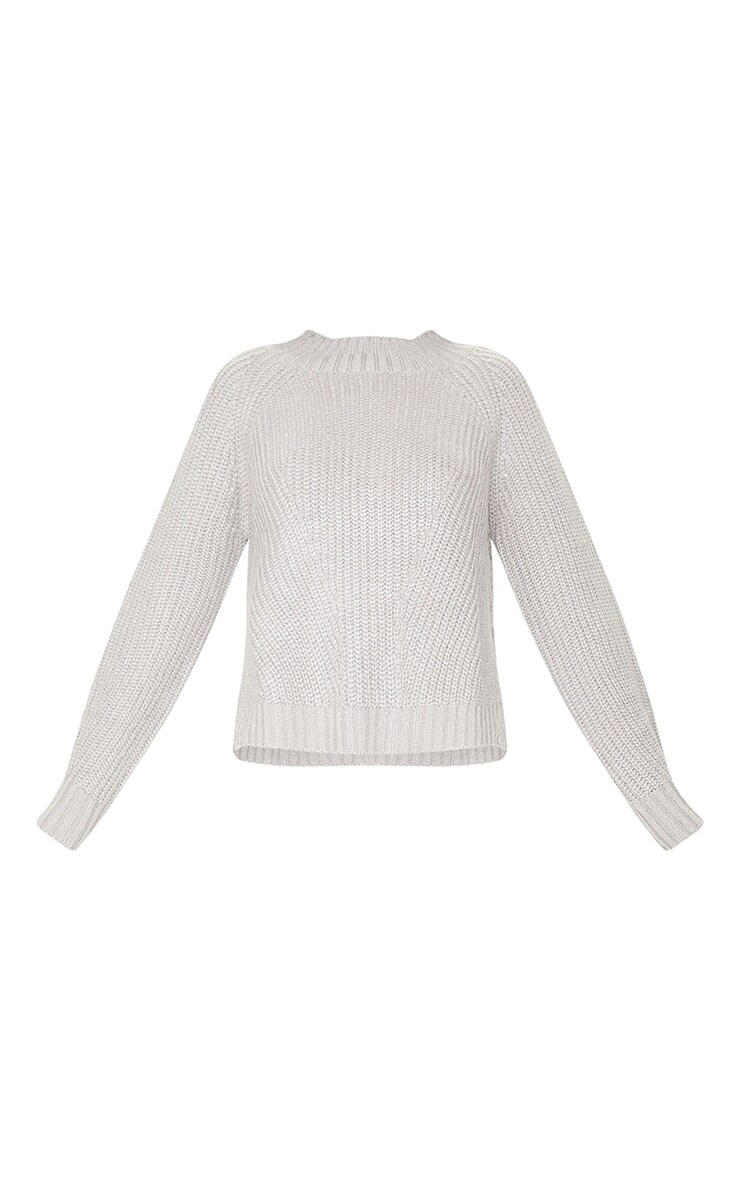 Grey Soft Knit Balloon Sleeve Funnel Neck Sweater 5