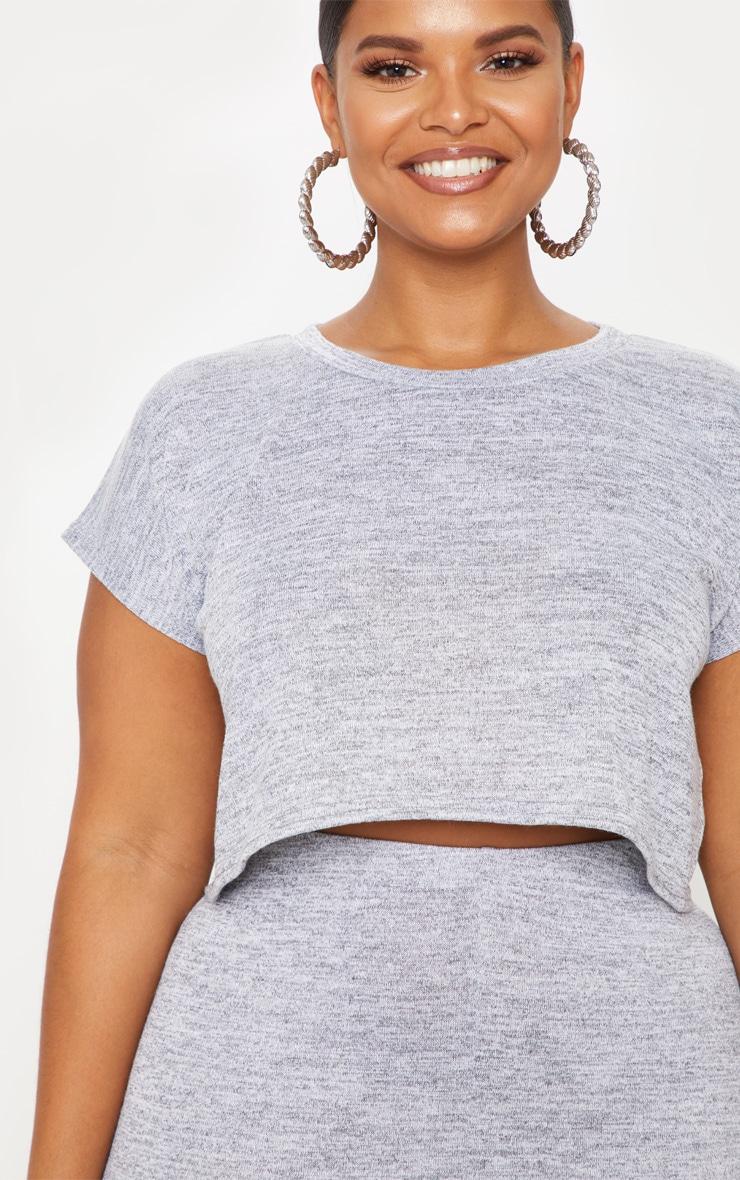 Plus Grey Cropped T-Shirt 5