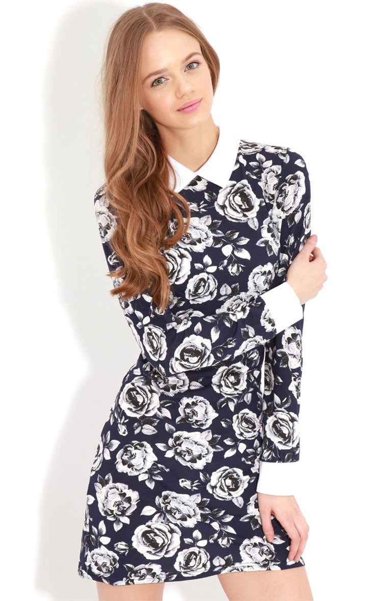 Demi Navy Floral Collar Dress 4