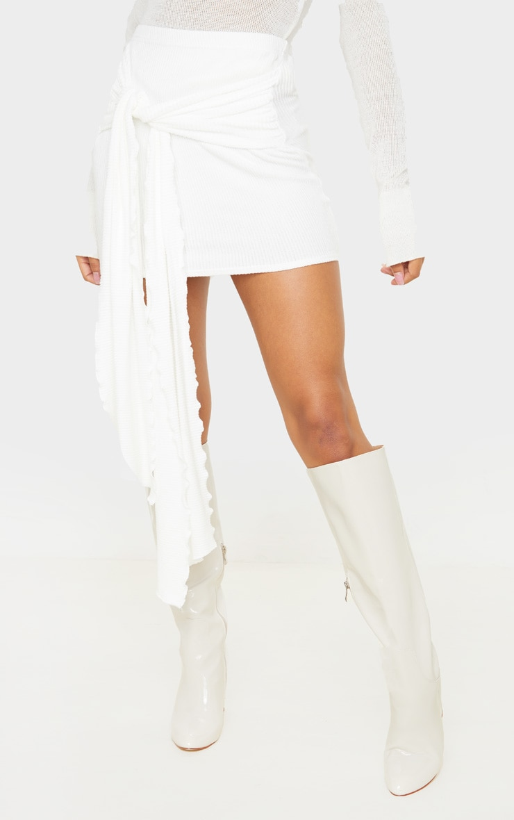 Cream Brushed Rib Extreme Tie Mini Skirt 2