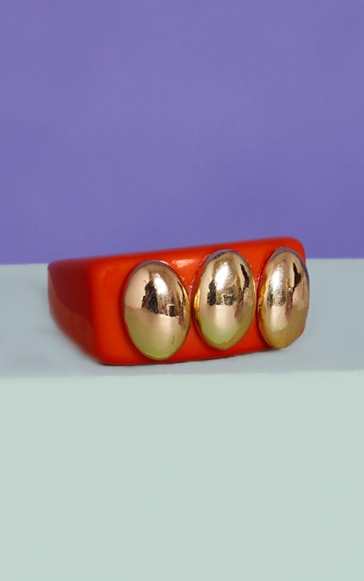 Orange Triple Gold Ball Resin Ring 3