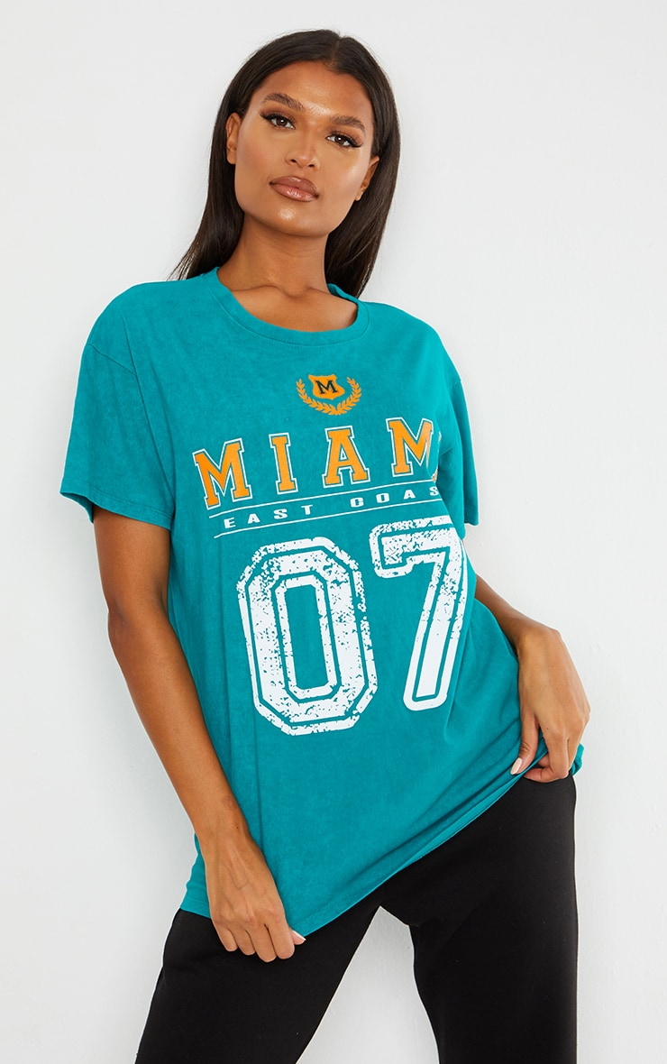 Teal Miami Distressed Print Washed T Shirt 1