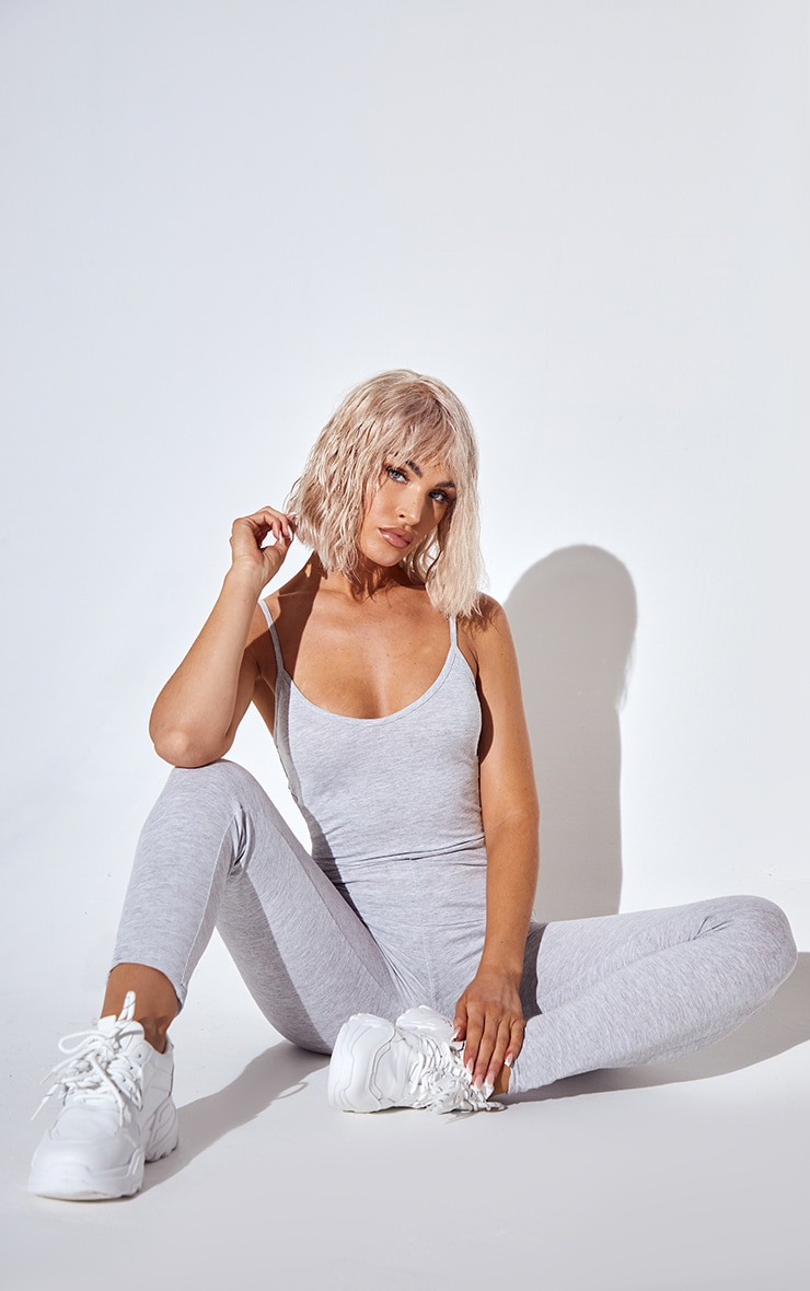 Essential Grey Marl Cotton Blend Basic Strappy Plunge Jumpsuit 1