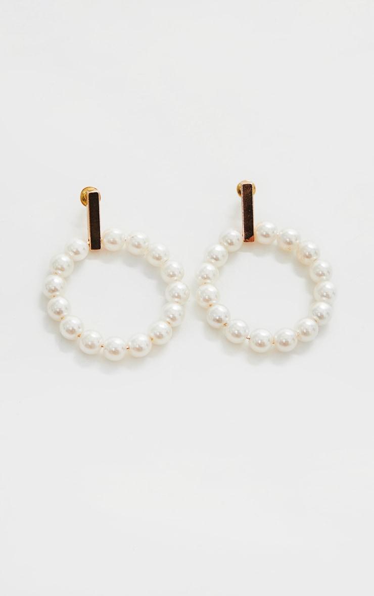 Gold Pearl Door Knocker Earrings 3