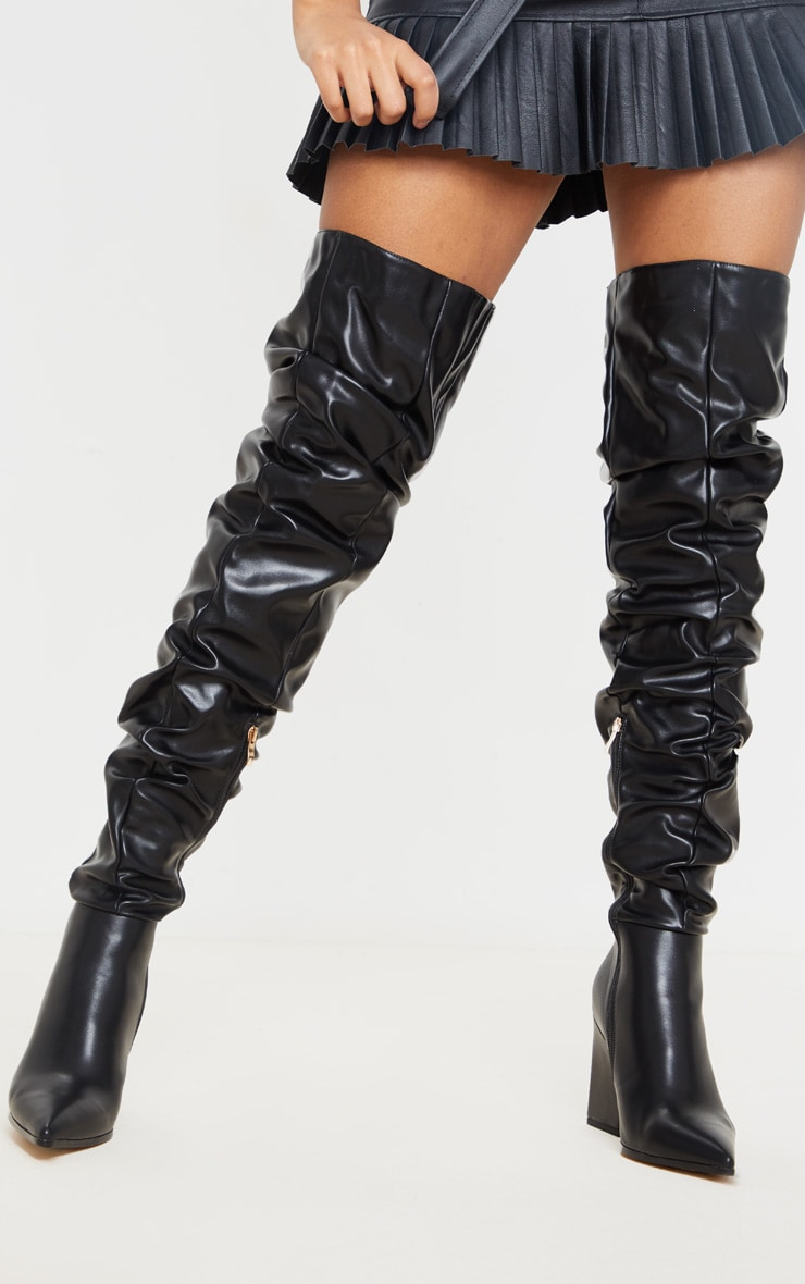 Black Ruched Thigh High Block Heel Boots 2