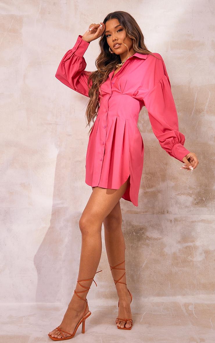 Hot Pink Fitted Waist Balloon Sleeve Shirt Dress 3