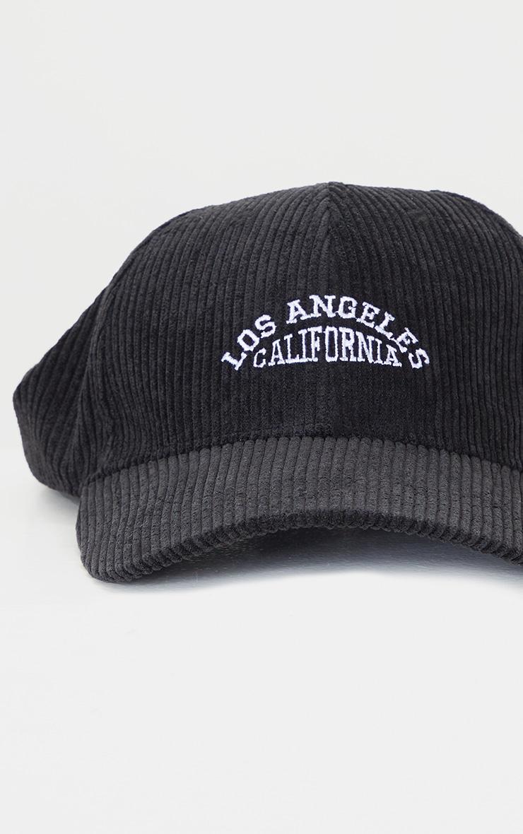 Black Los Angeles Cord Baseball Cap 4