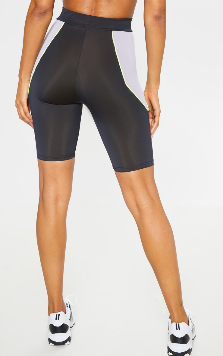 Black Contrast Side Panel Cycling Short  3