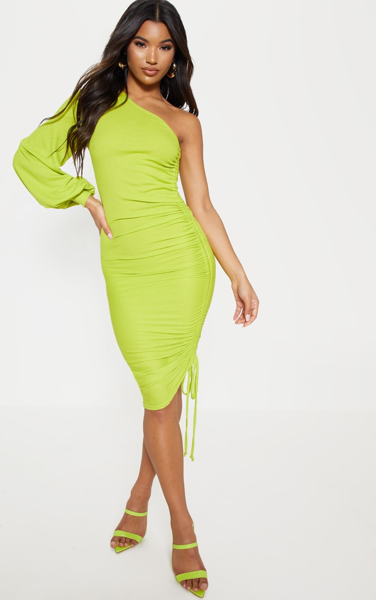 Lime Rib One Sleeve Ruched Bodycon Dress | PrettyLittleThing AUS