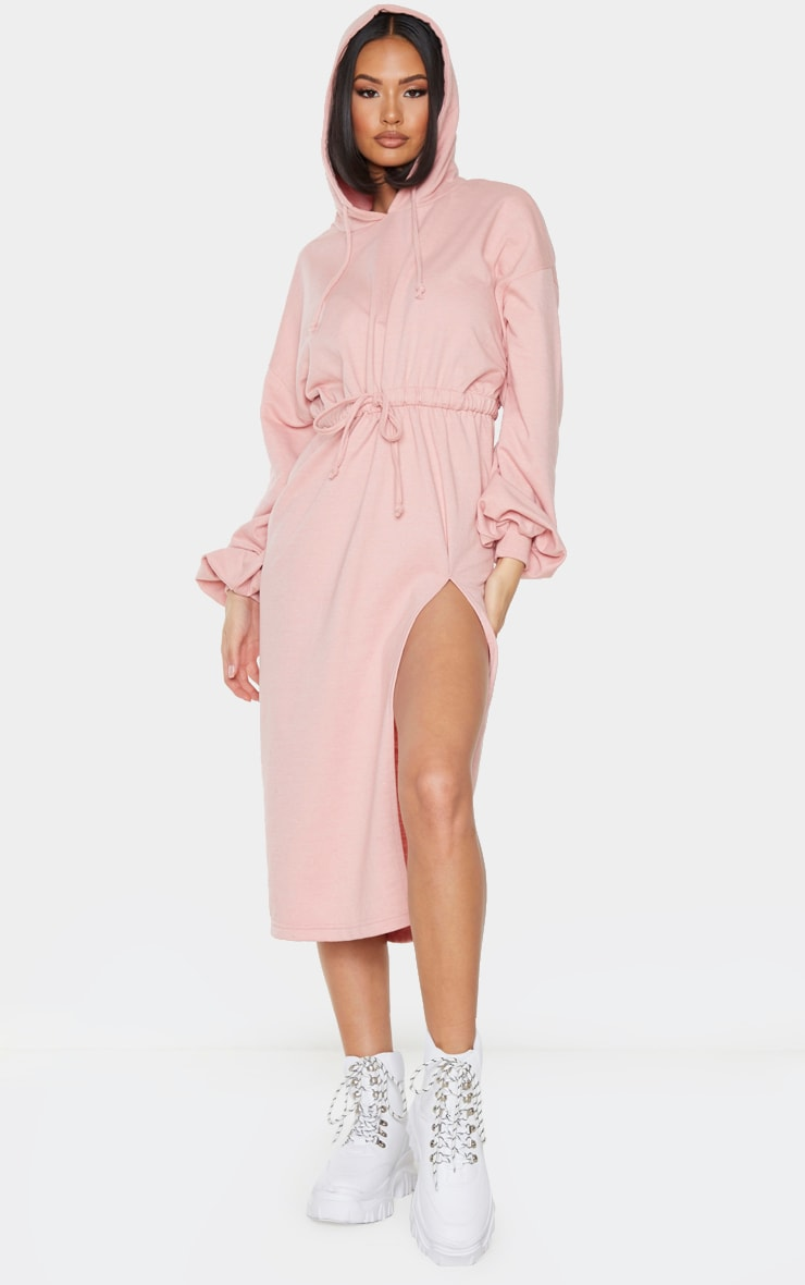 Blush Sweat Hoodie Split Midi Dress