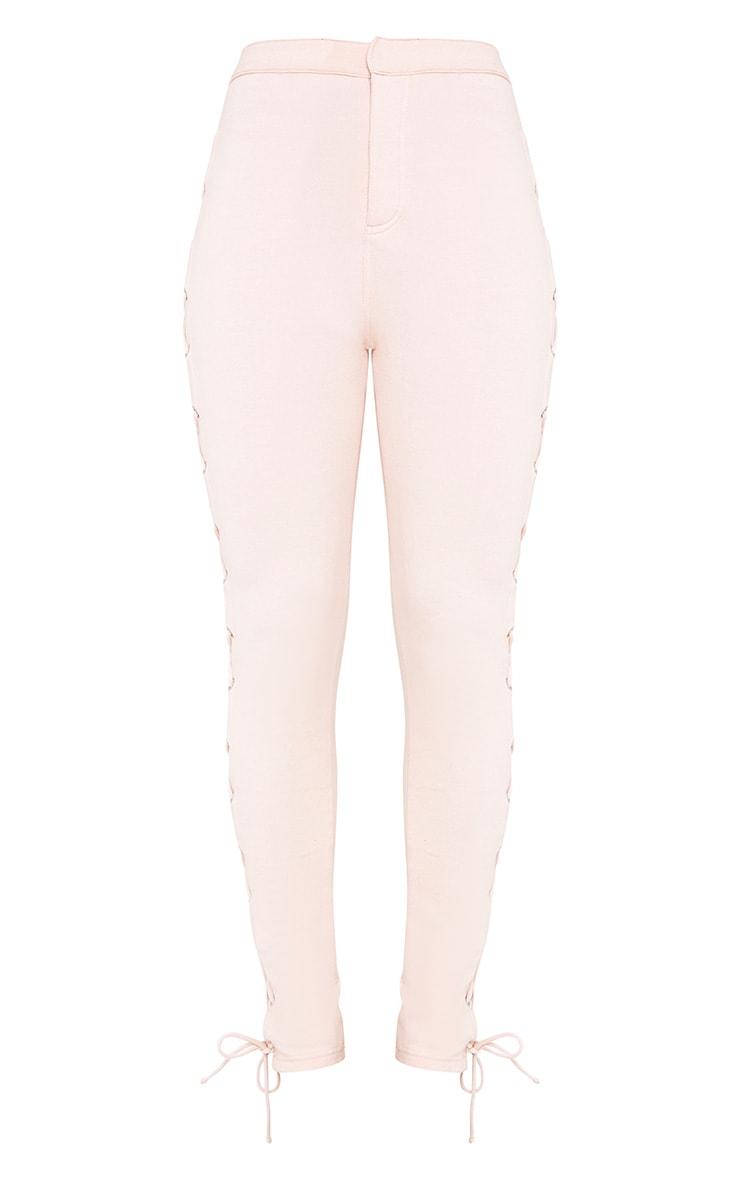 Lulu Blush Side Lace Up Skinny Trousers 3