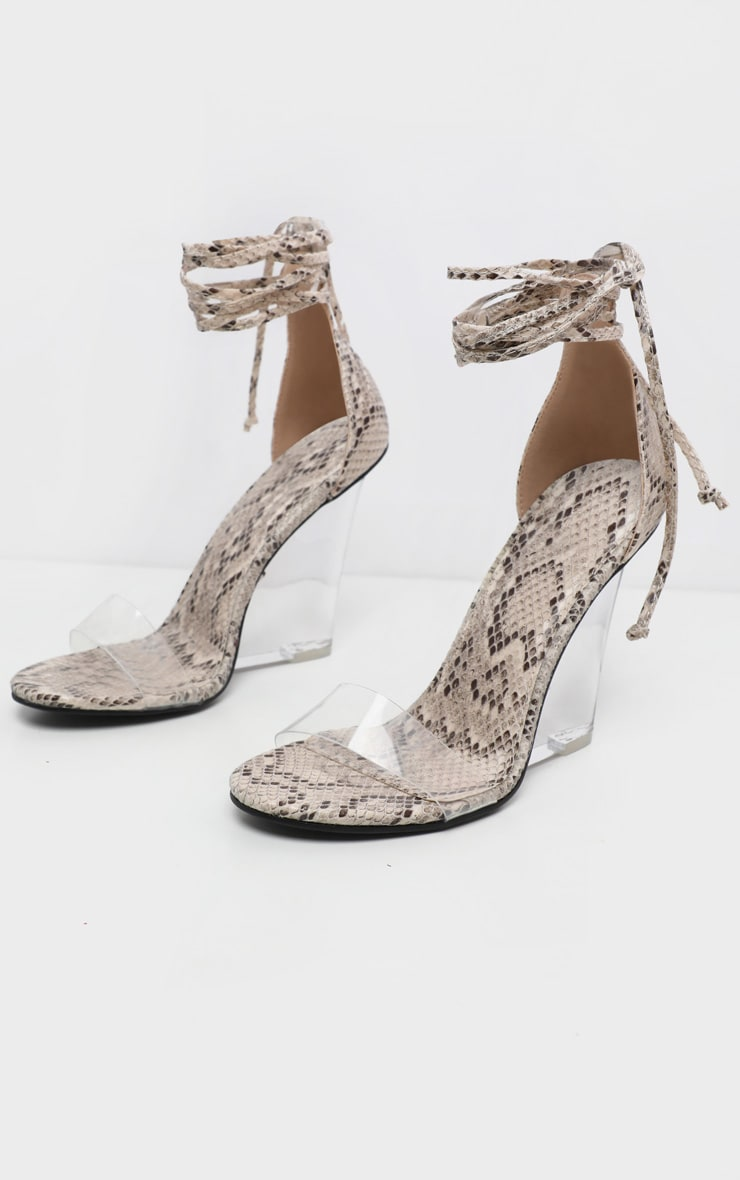 Snake Ankle Tie Clear Wedge 3