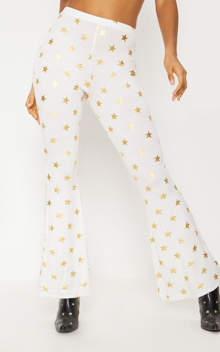 White Jersey Star Print Flared Trouser 2