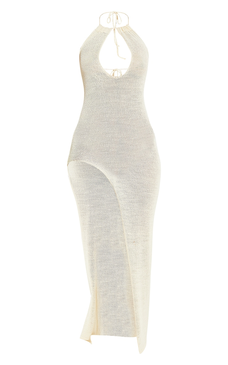 Cream Cut Out Detail Cross Over Strap Sheer Knit Maxi Dress 9