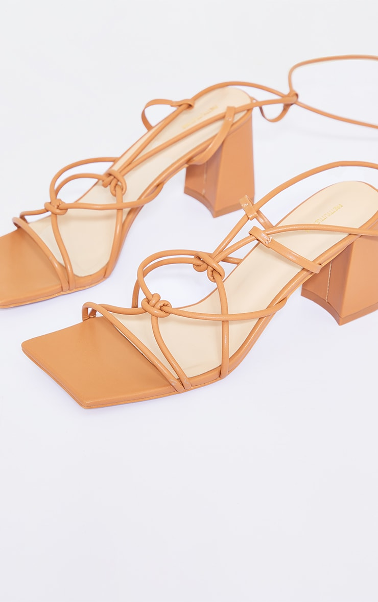 Tan Square Toe Knotted Lace Up Block Sandals 3