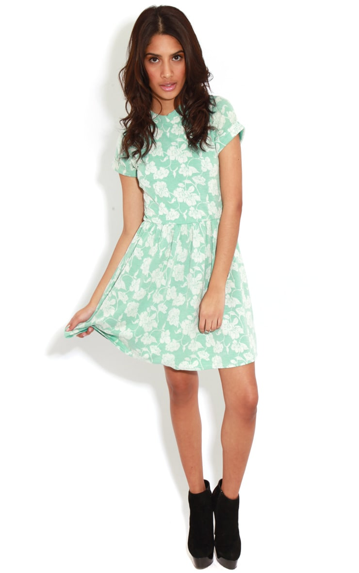 Eloise Mint Floral Dropped Hem Dress 3