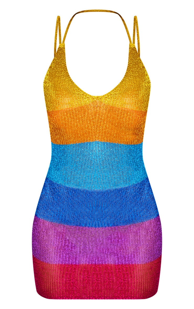 Multi Metallic Stripe Dress 4