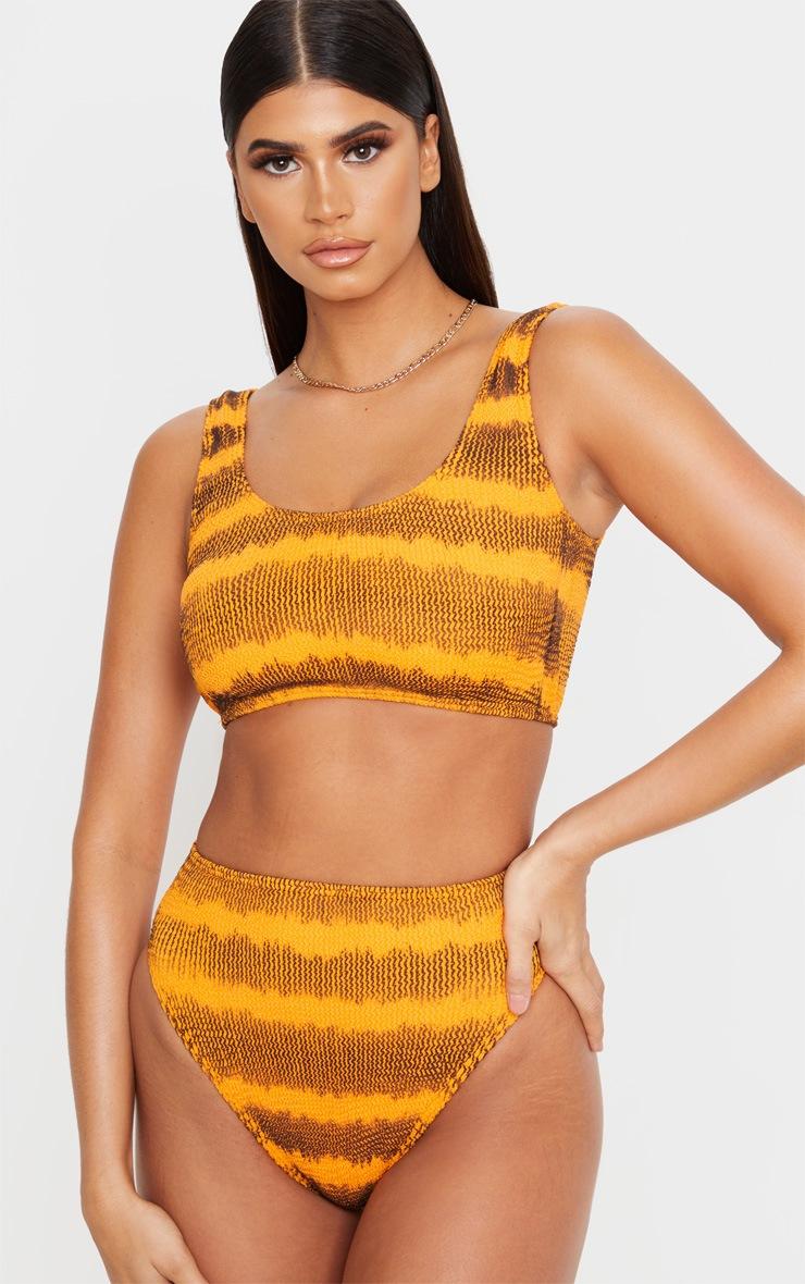 Orange Tie Dye Fuller Bust Crinkle Deep Scoop Bikini Top 4