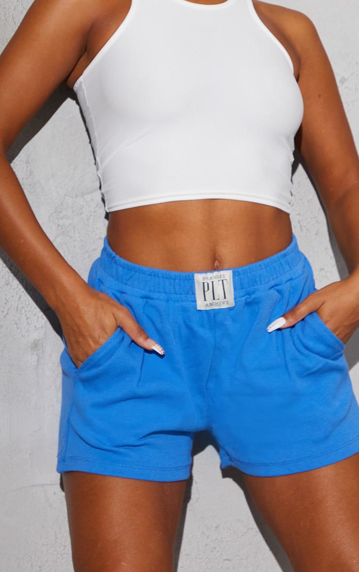 PRETTYLITTLETHING Blue Ribbed Lounge Shorts 5