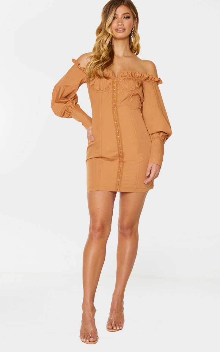 Tan Bardot Ruched Cup Hook & Eye Bodycon Dress 3