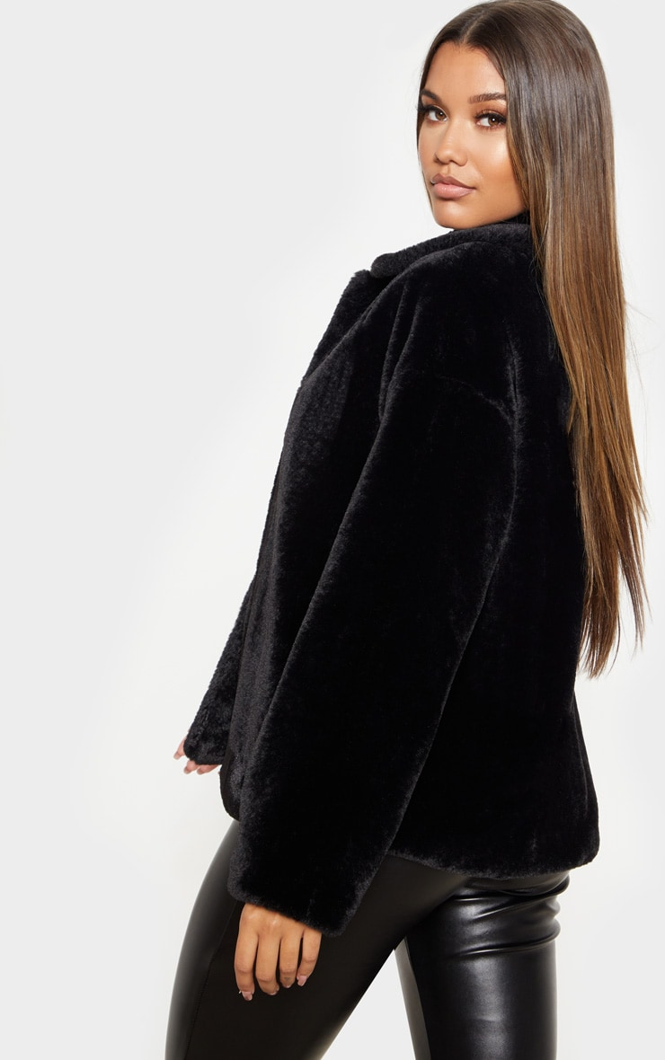 Black Oversized Faux Fur Jacket 2