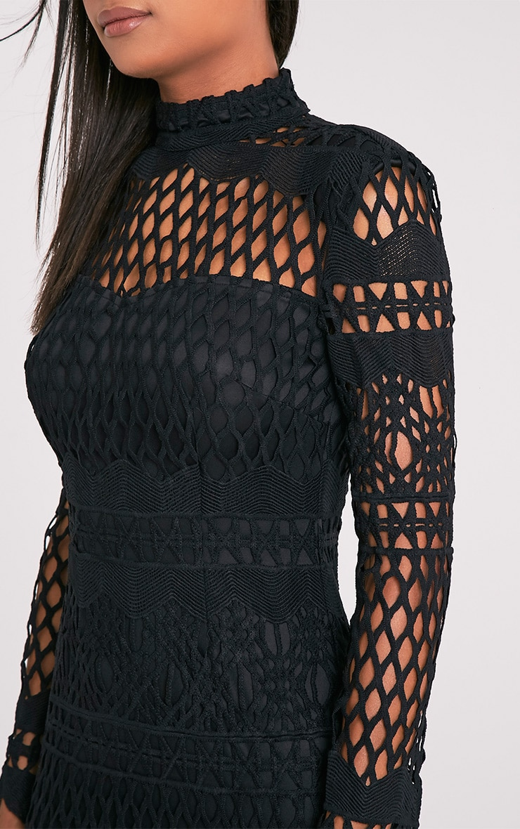 Lexi Black Crochet Lace Long Sleeve Bodycon Dress 6