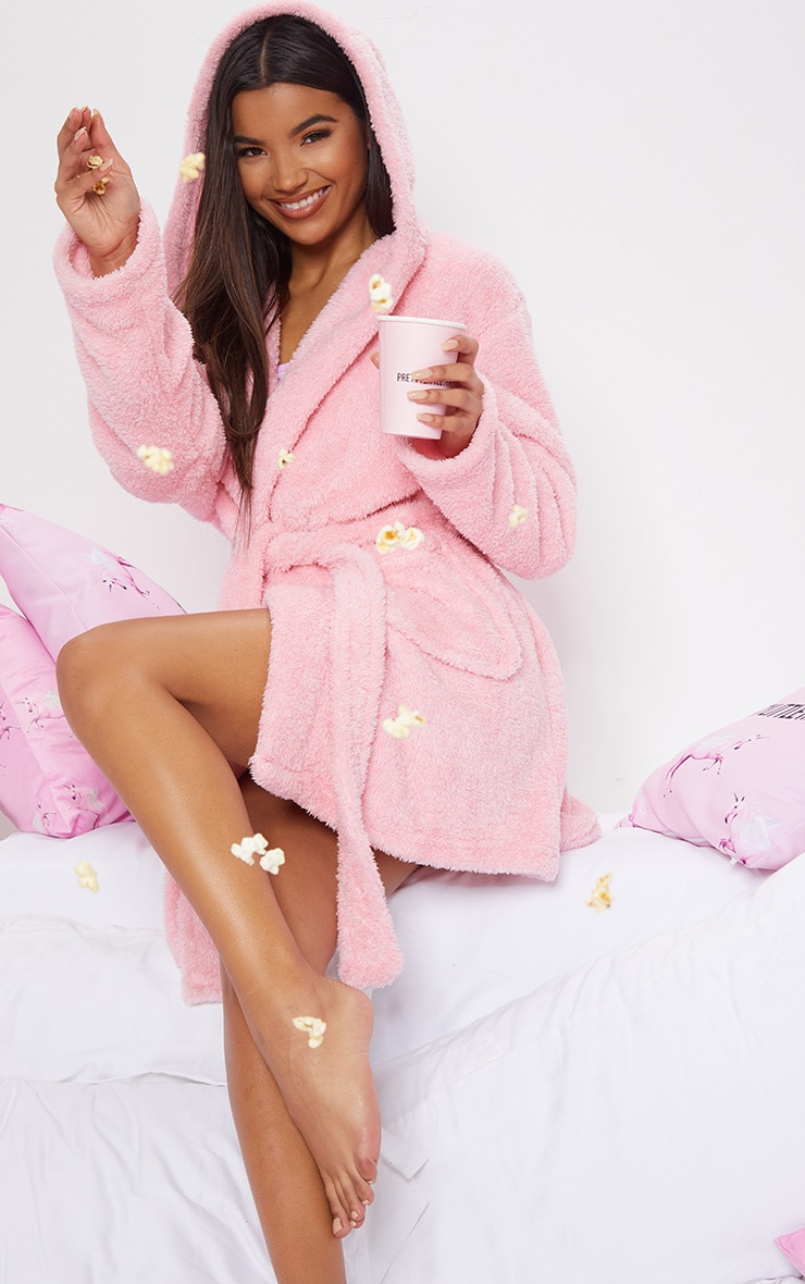 PRETTYLITTLETHING Pink Fluffy Dressing Gown 2