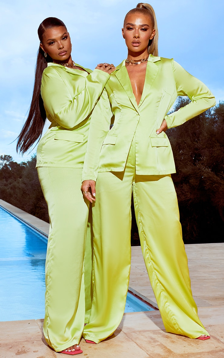 Lime Satin Wide Leg Trousers 4