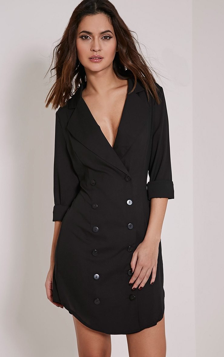 Lucah Black Double Breasted Blazer Dress 1
