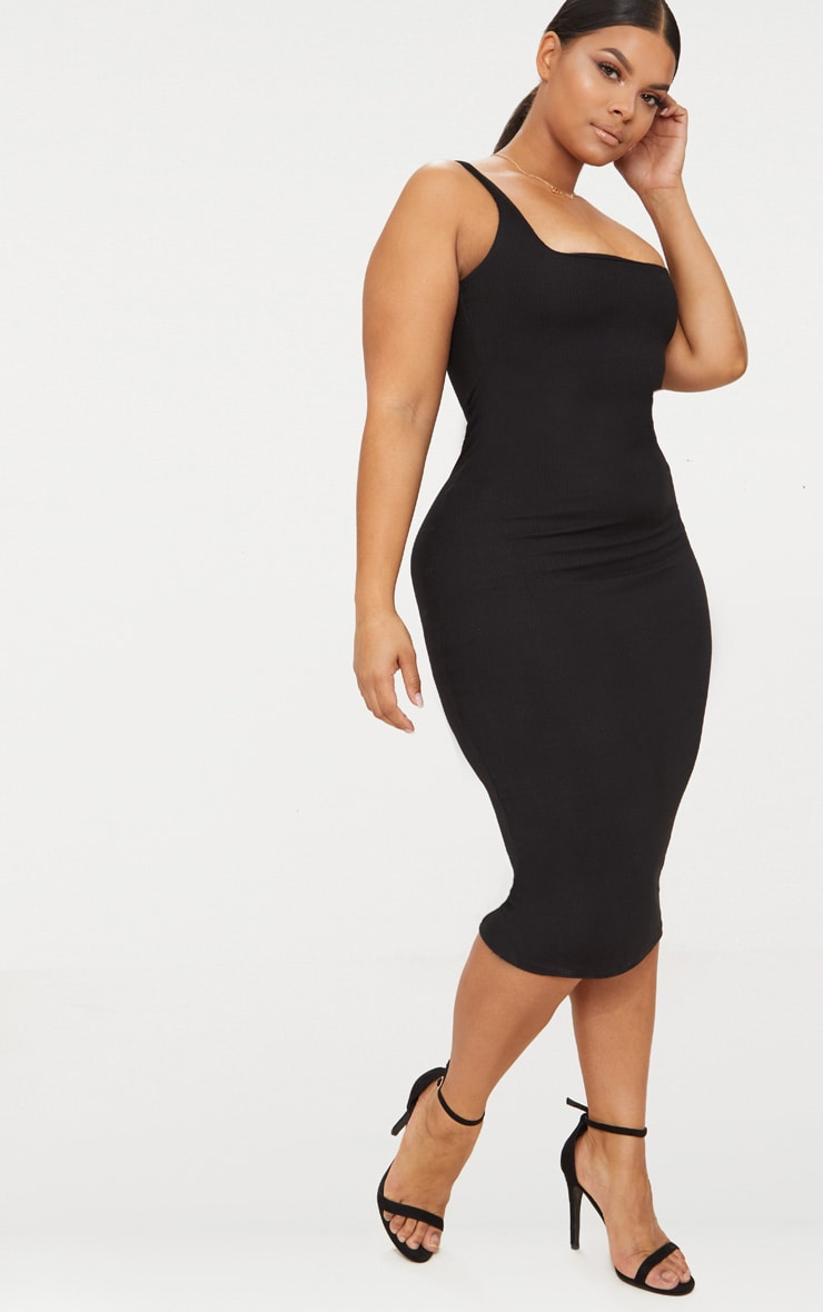 Plus Black Ribbed Square Neck Midi Dress 4