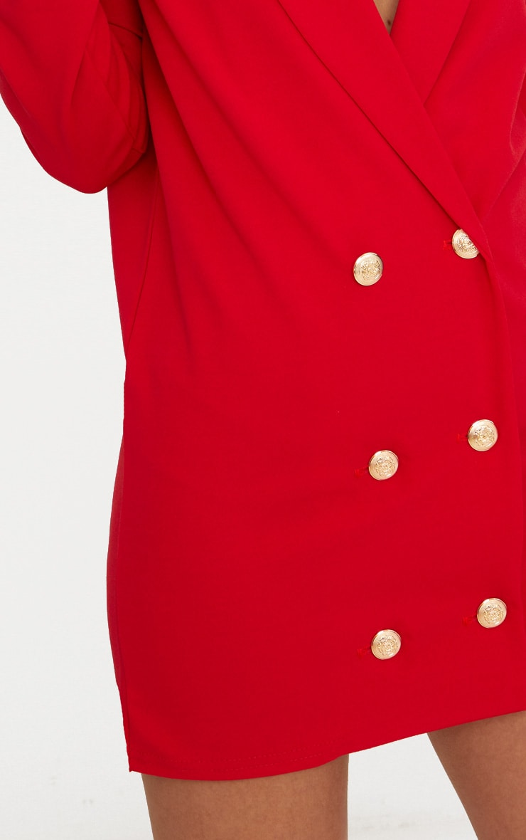 Petite Red Gold Button Oversized Blazer Dress 5