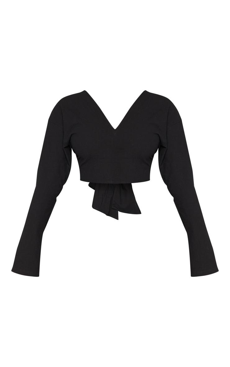 Petite Black Tie Back Cropped Blouse 3