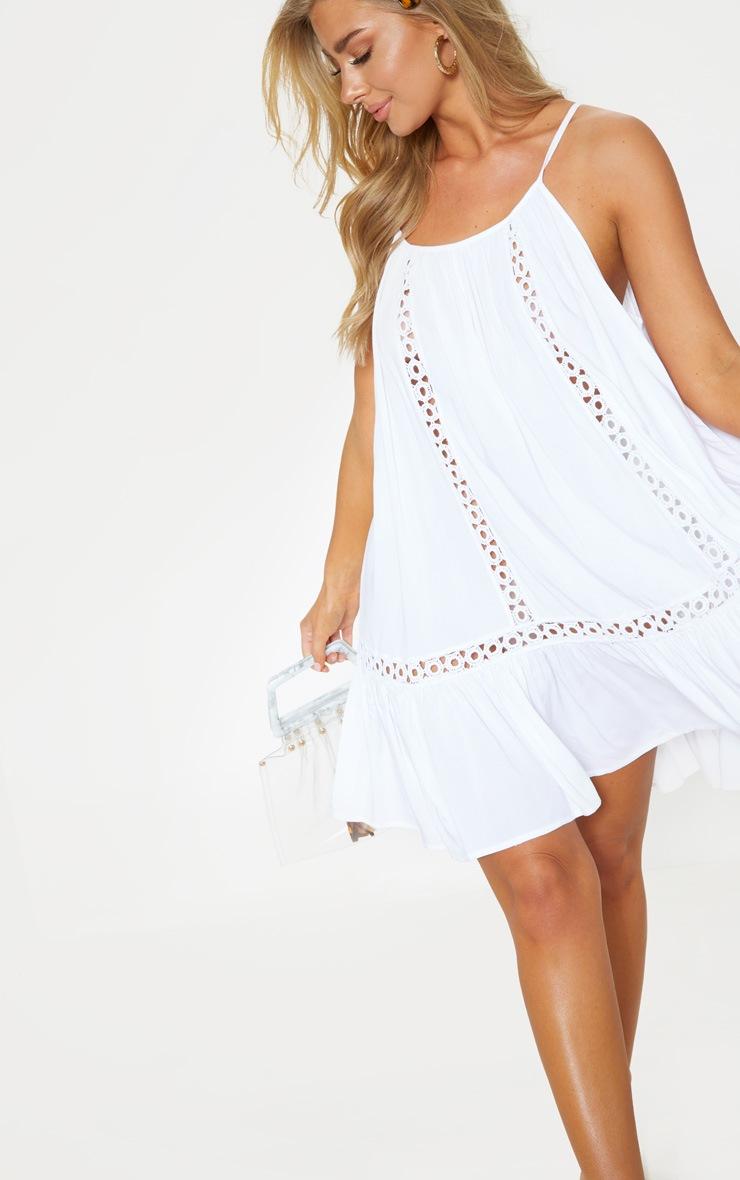White Crochet Trim Frill Hem Beach Dress 4