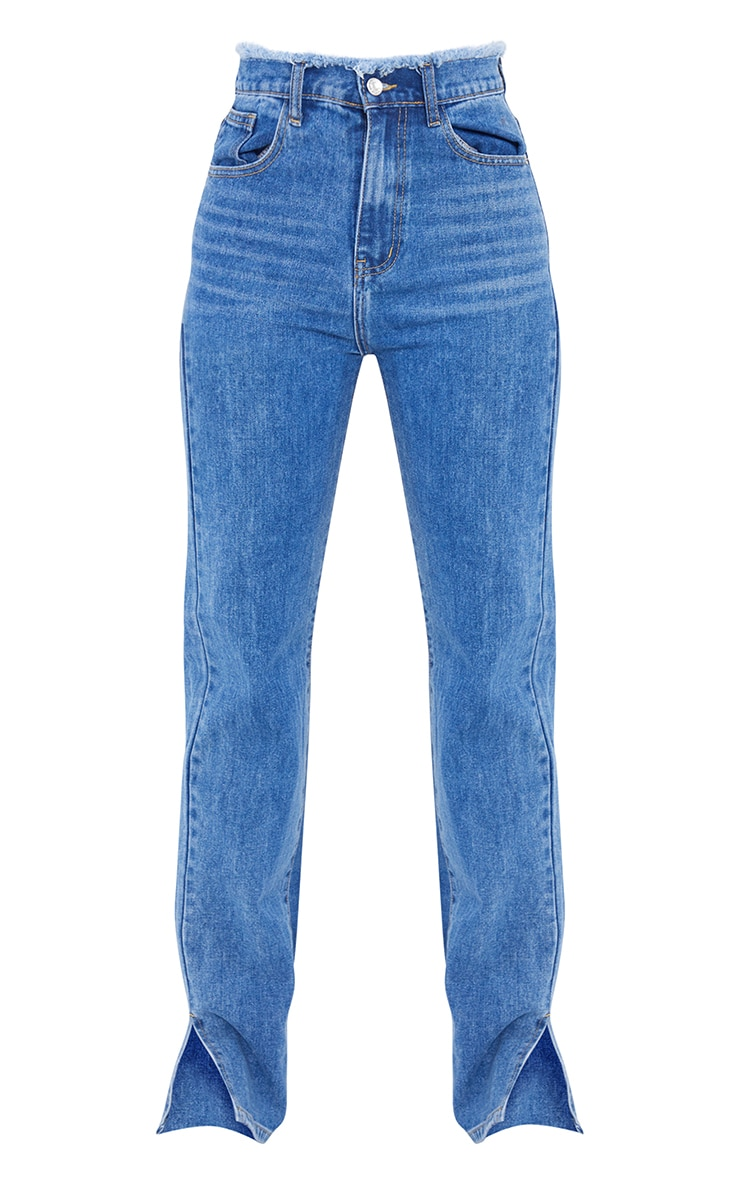 Tall  Mid Blue Distressed Waistband Split Hem Jeans 5