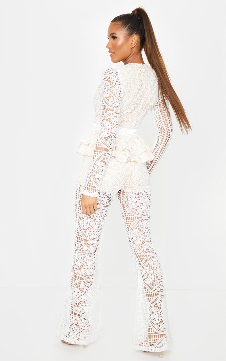 White Lace Peplum Detail Long Sleeve Jumpsuit 2