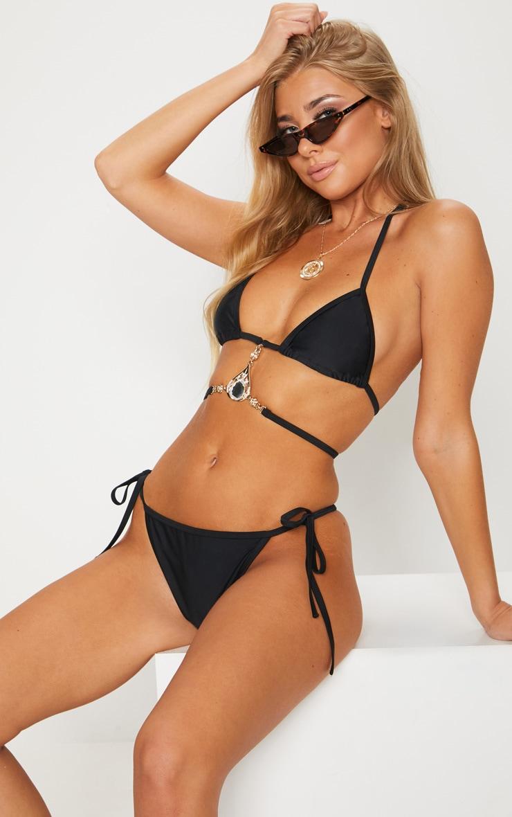 Black Tie Side Ruched Bum Detail Bikini Bottom 1