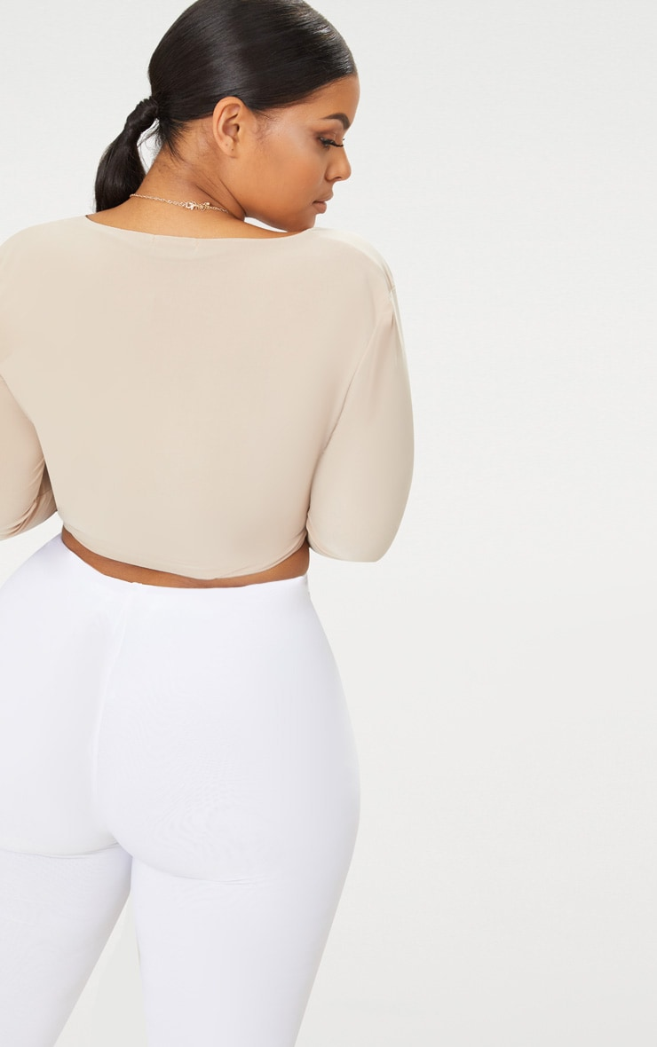 Plus Stone Second Skin Long Sleeve V Neck Crop Top 2