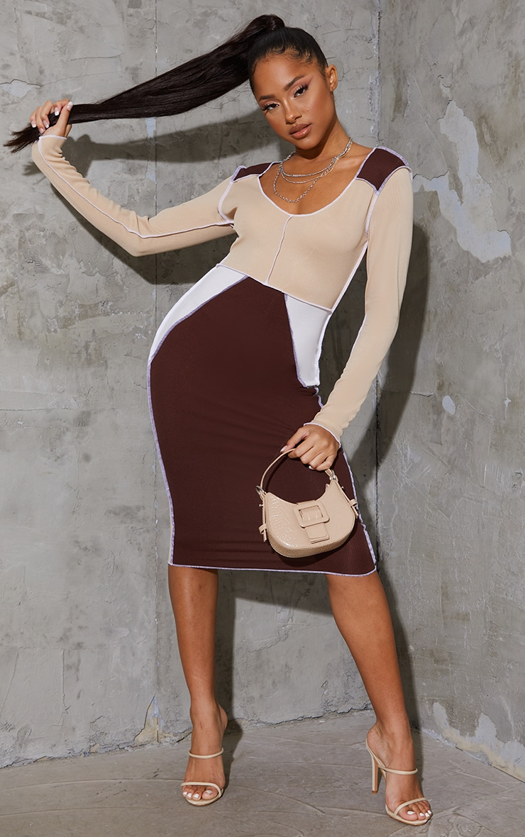Nude Patchwork Contrast Stitch Long Sleeve Midi Dress