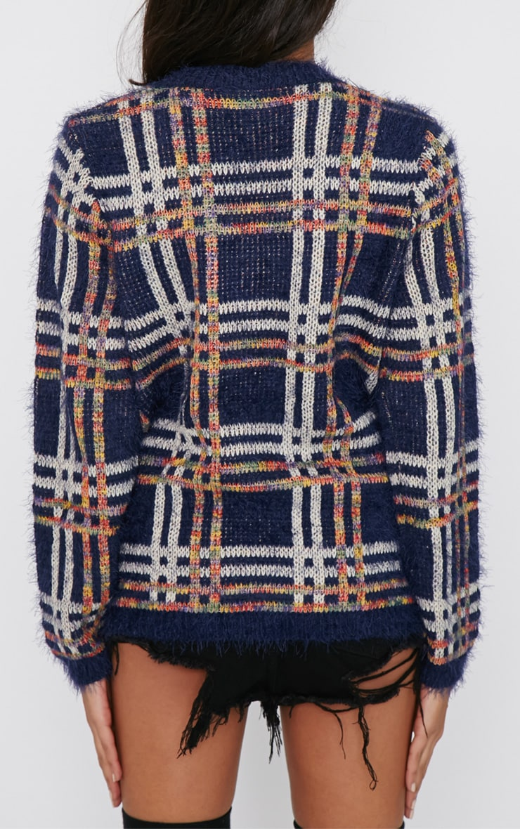 Sacha Blue Tartan Fluffy Jumper  2