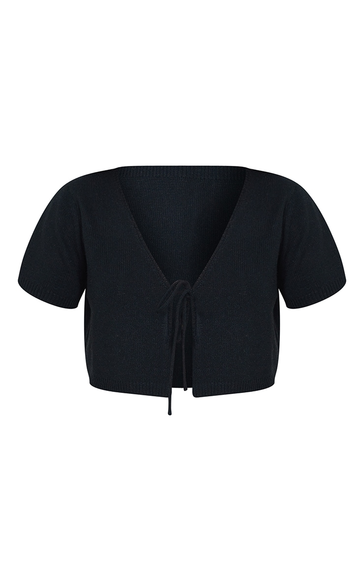Black Tie Front Knitted Short Sleeve Cropped Cardigan 5