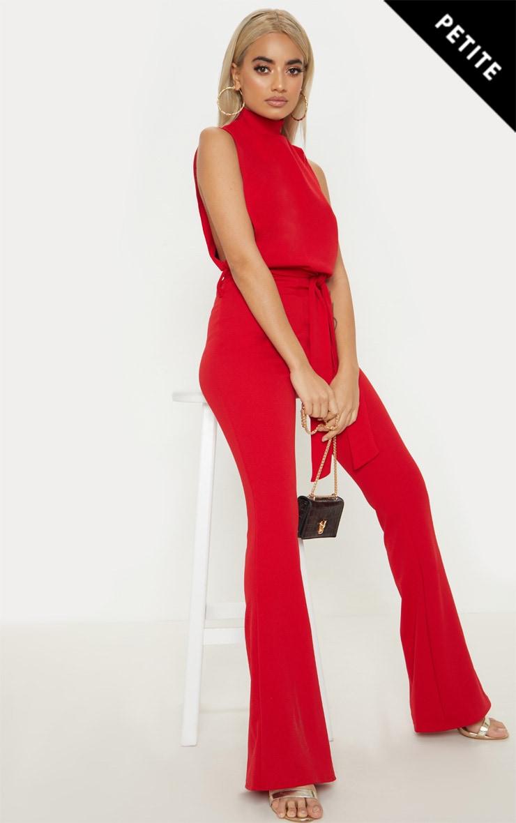 Petite Red Scuba High Neck Tie Waist Jumpsuit