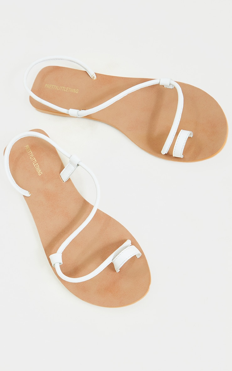 White Real Leather Toe Loop Tube Strap Sandals 3