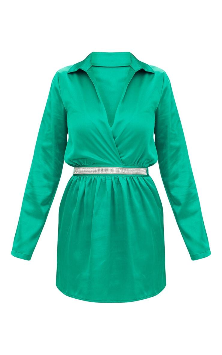 Bright Green Diamante Waist Plunge Front Shift Dress 3