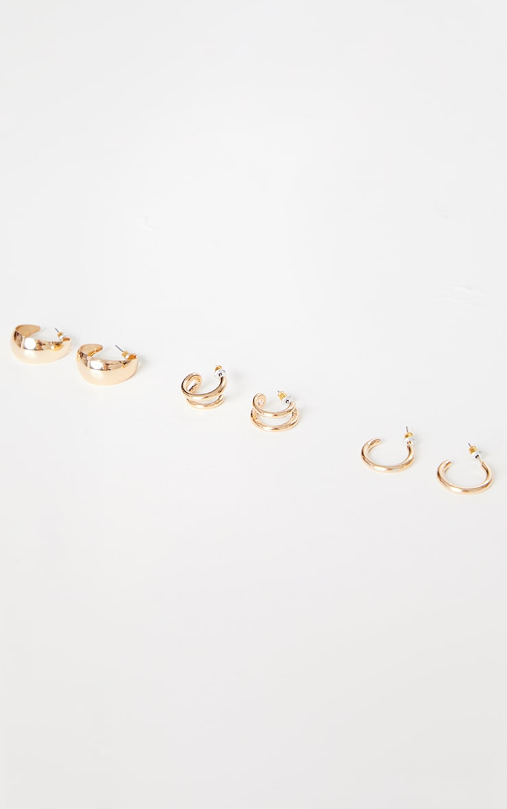Gold Three Pack Mini Huggie Hoop Earrings 3