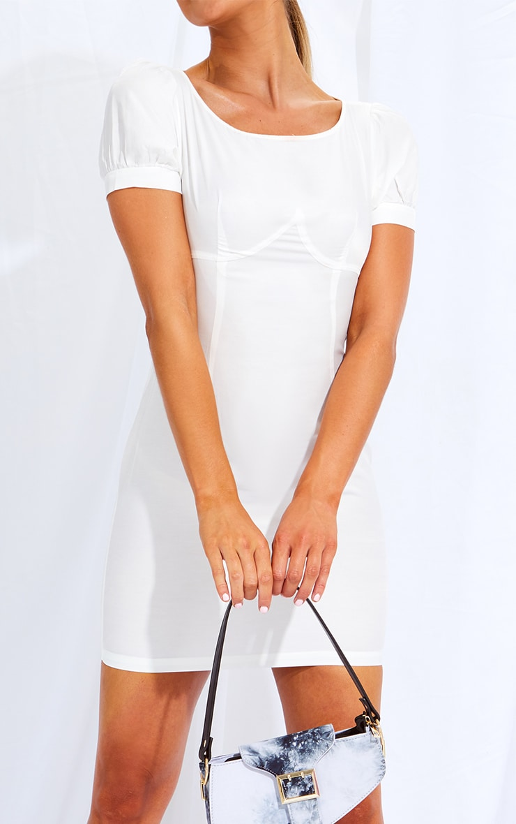 White Woven Cup Detail Puff Sleeve Bodycon Dress 4